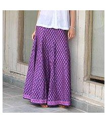 cotton long skirt, 'radiant orchid blossom' (india)
