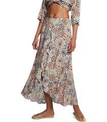 falda blanco-multicolor desigual