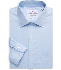 brooks brothers men's regent-fit plaid dress shirt - light blue - size 16.5 36