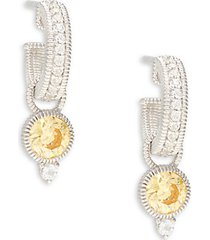 la petite sterling silver, white topaz & canary cubic zirconia earrings