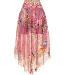 camilla floral-print silk midi skirt - pink