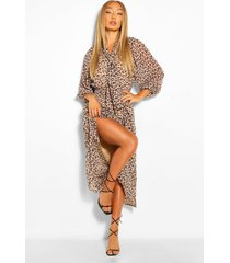 leopard print balloon sleeve tie neck midaxi dress, brown