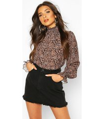 leopard print shirred neck cuff woven top, brown