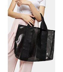 latch black large mesh tote bag - black