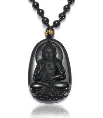 collana di buddha dell'annata black obsidian buddha mano mano collana