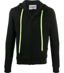 iceberg fitted zipped hoodie - black