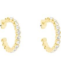 orecchini a cerchio in metallo dorato e cristalli per donna