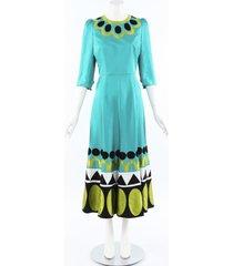 andrew gn multicolor geometric silk dress multicolor/geometric sz: s