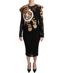 floral lace tiger sheath dress
