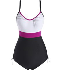colorblock knot cinched one-piece swimsuit