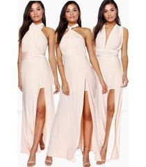 multiway split leg maxi bridesmaid dress, blush