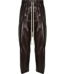 rick owens astaires coated cropped trousers - purple