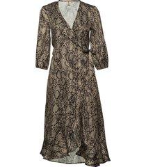 snakey alva dress knälång klänning brun becksöndergaard
