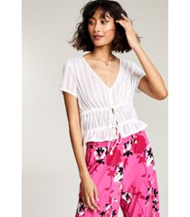 bar iii drawstring knit top, created for macy's