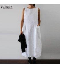zanzea de las mujeres del vestido sin mangas del verano camisa de vestir casual midi vestido más del tamaño -blanco