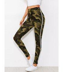 leggings de cintura alta de camuflaje verde militar