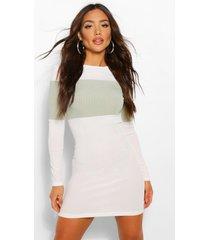 geribbelde colour block mini jurk, salie