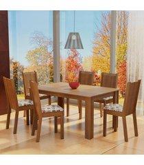 conjunto sala de jantar madesa analu mesa tampo de madeira com 6 cadeiras marrom