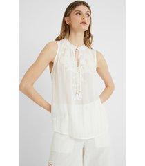 blouse neck drawstring matching print - white - xxl
