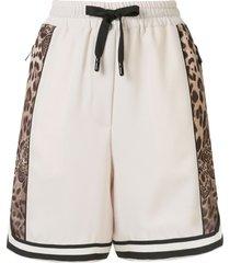 dolce & gabbana leopard logo shorts - brown