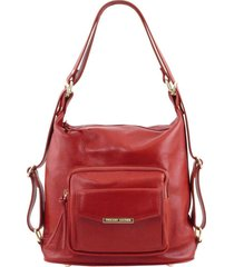 tuscany leather tl141535 tl bag - borsa donna in pelle convertibile a zaino rosso