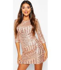 boutique bodycon jurk met pailletten, roségoud