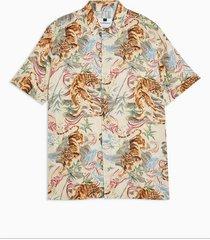 mens beige considered stone tiger print revere shirt