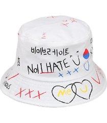 gorra de cubo con estampado de grafiti de letras para hombre