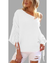 white lace-up design one shoulder long sleeves sweaters