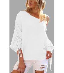 suéteres de manga larga de un hombro con cordones blancos