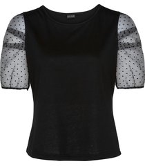 maglia con maniche in organza (nero) - bodyflirt
