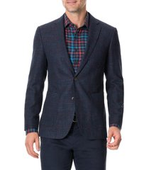 rodd & gunn the forks regular fit check wool & cotton sport coat, size xx-large in blue graphite at nordstrom