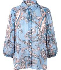 print blouse met ballonmouwen adelina  blauw