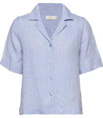 donna linen shirt overhemd met korte mouwen blauw morris lady