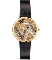 women's missoni m1 joyful knit dial leather strap watch gift set, 34mm (nordstrom exclusive)