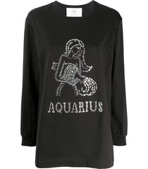 alberta ferretti aquarius crystal-embellished sweatshirt - black