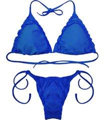 biquãni cortininha divance azul bic calcinha ripple 612 - azul - feminino - poliamida - dafiti