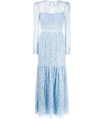 self-portrait fine corded lace maxi dress - blue