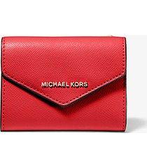 mk portafoglio a bustina medio in pelle a grana incrociata - rosso brillante (rosso) - michael kors