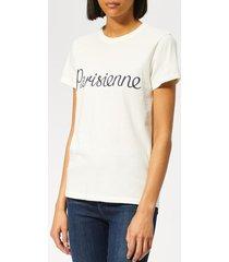 maison kitsuné women's t-shirt parisienne - latte - l - white