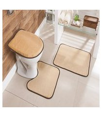 kit tapete de banheiro liso 3 peças antiderrapante bege