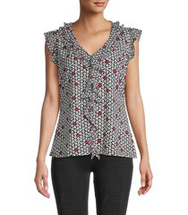 tommy hilfiger women's floral flutter-sleeve top - white multicolor - size xs