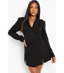 petite blazer en mini jurk met bralette, black