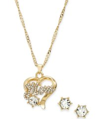 charter club crystal mom heart pendant necklace & stud earrings set, created for macy's