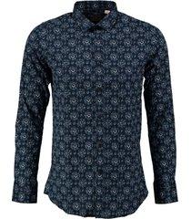 dstrezzed blauw stretch overhemd valt kleiner