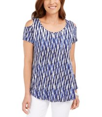 jm collection cold-shoulder printed top, created for macy's
