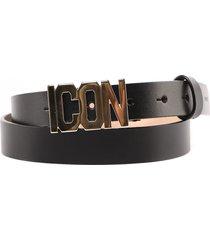 dsquared2 black icon leather belt