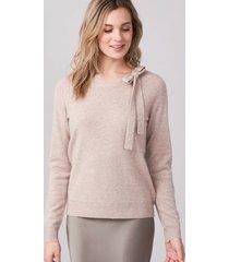 pullover met strik aan de hals van cashmere-zijde-mix