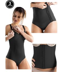 kit body amamentação cinta abdominal e cinta pós parto tivesty preto