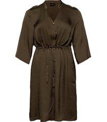 dress buttons plus v neck tie knälång klänning grön zizzi